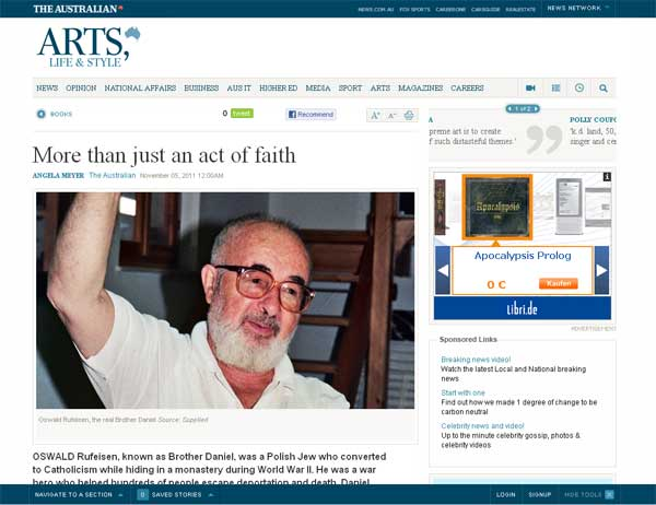 More than just an act of faith (on Daniel Stein, Interpreter) - Angela Meyer, The Australian, 05/11/2011